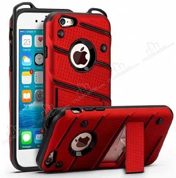 Eiroo Zag Armor iPhone SE / 5 / 5S Standlı Ultra Koruma Kırmızı Kılıf