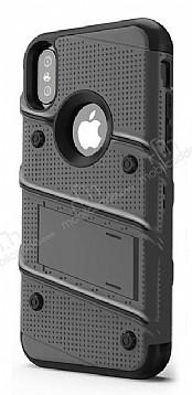 Eiroo Zag Armor iPhone X Standlı Ultra Koruma Silver Kılıf