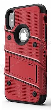 Eiroo Zag Armor iPhone X Standlı Ultra Koruma Kırmızı Kılıf