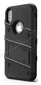 Eiroo Zag Armor iPhone X Standlı Ultra Koruma Siyah Kılıf