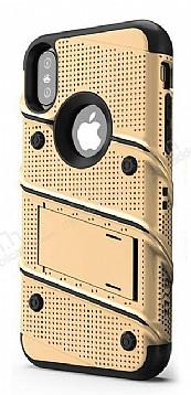 Eiroo Zag Armor iPhone X Standlı Ultra Koruma Gold Kılıf