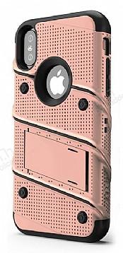 Eiroo Zag Armor iPhone X Standlı Ultra Koruma Rose Gold Kılıf