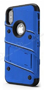 Eiroo Zag Armor iPhone X Standlı Ultra Koruma Lacivert Kılıf