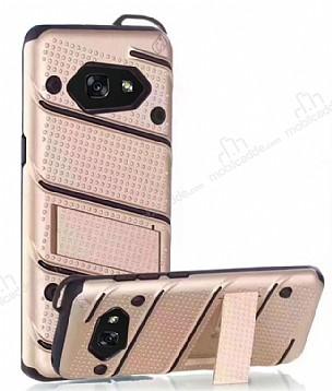 Eiroo Zag Armor Samsung Galaxy A3 2017 Standlı Ultra Koruma Gold Kılıf