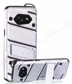 Eiroo Zag Armor Samsung Galaxy A3 2017 Standlı Ultra Koruma Silver Kılıf