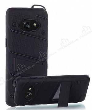 Eiroo Zag Armor Samsung Galaxy A5 2017 Standlı Ultra Koruma Siyah Kılıf