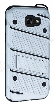 Eiroo Zag Armor Samsung Galaxy A7 2017 Standlı Ultra Koruma Silver Kılıf