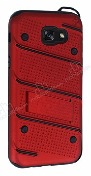 Eiroo Zag Armor Samsung Galaxy A7 2017 Standlı Ultra Koruma Kırmızı Kılıf