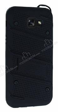 Eiroo Zag Armor Samsung Galaxy A7 2017 Standlı Ultra Koruma Siyah Kılıf