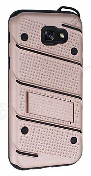 Eiroo Zag Armor Samsung Galaxy A7 2017 Standlı Ultra Koruma Rose Gold Kılıf