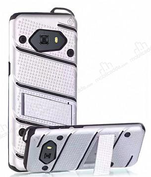 Eiroo Zag Armor Samsung Galaxy C9 Pro Standlı Ultra Koruma Silver Kılıf