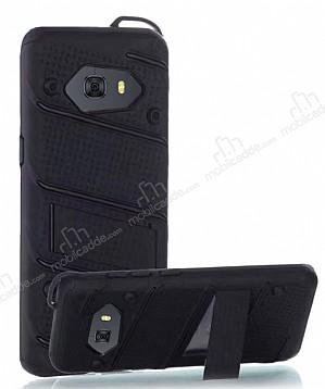 Eiroo Zag Armor Samsung Galaxy C9 Pro Standlı Ultra Koruma Siyah Kılıf