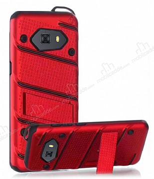 Eiroo Zag Armor Samsung Galaxy C9 Pro Standlı Ultra Koruma Kırmızı Kılıf