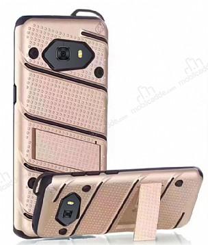 Eiroo Zag Armor Samsung Galaxy C9 Pro Standlı Ultra Koruma Gold Kılıf
