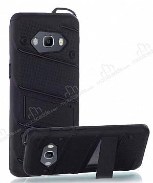 Eiroo Zag Armor Samsung Galaxy J5 2016 Standlı Ultra Koruma Siyah Kılıf