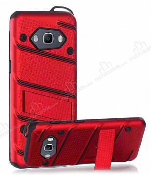 Eiroo Zag Armor Samsung Galaxy J5 2016 Standlı Ultra Koruma Kırmızı Kılıf