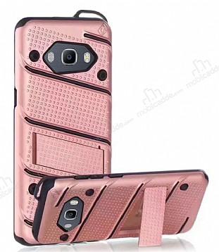 Eiroo Zag Armor Samsung Galaxy J7 2016 Standlı Ultra Koruma Rose Gold Kılıf