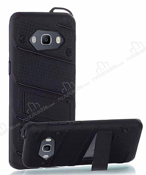 Eiroo Zag Armor Samsung Galaxy J7 2016 Standlı Ultra Koruma Siyah Kılıf
