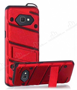 Eiroo Zag Armor Samsung Galaxy J7 Prime Standlı Ultra Koruma Kırmızı Kılıf