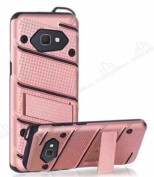 Eiroo Zag Armor Samsung Galaxy J7 Prime Standlı Ultra Koruma Rose Gold Kılıf