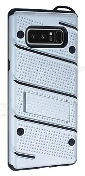 Eiroo Zag Armor Samsung Galaxy Note 8 Standlı Ultra Koruma Silver Kılıf