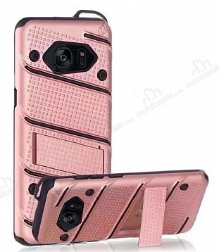 Eiroo Zag Armor Samsung Galaxy S7 Edge Standlı Ultra Koruma Rose Gold Kılıf