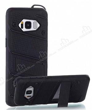 Eiroo Zag Armor Samsung Galaxy S8 Plus Standlı Ultra Koruma Siyah Kılıf
