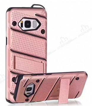 Eiroo Zag Armor Samsung Galaxy S8 Plus Standlı Ultra Koruma Rose Gold Kılıf
