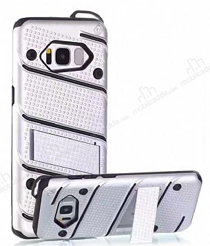 Eiroo Zag Armor Samsung Galaxy S8 Standlı Ultra Koruma Silver Kılıf