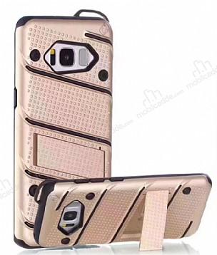 Eiroo Zag Armor Samsung Galaxy S8 Standlı Ultra Koruma Gold Kılıf