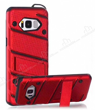 Eiroo Zag Armor Samsung Galaxy S8 Standlı Ultra Koruma Kırmızı Kılıf