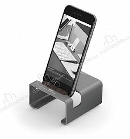 Elago M3 Universal Alüminyum ve Ceviz Ağacı Dark Silver Telefon Standı