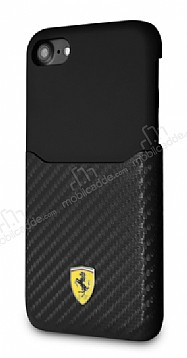 Ferrari iPhone 6 / 6S / 7 / 8 Gerçek Deri Karbon Siyah Rubber Kılıf