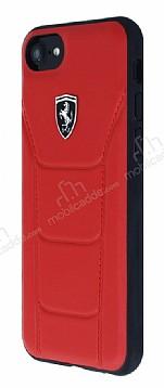 Ferrari iPhone 6 / 6S / 7 / 8 Gerçek Deri Kırmızı Rubber Kılıf