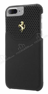 Ferrari iPhone 7 Plus / 8 Plus Gerçek Deri Siyah Rubber Kılıf