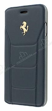 Ferrari iPhone 7 / 8 Cüzdanlı Kapaklı Gerçek Lacivert Deri Kılıf