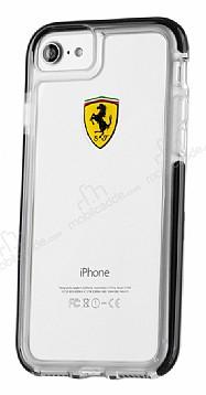 Ferrari iPhone 7 / 8 Ultra Koruma Silikon Kenarlı Şeffaf Siyah Kılıf