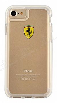 Ferrari iPhone 7 / 8 Ultra Koruma Silikon Kenarlı Şeffaf Beyaz Kılıf