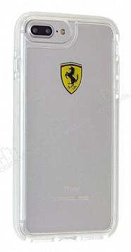 Ferrari iPhone 7 Plus / 8 Plus Ultra Koruma Silikon Kenarlı Şeffaf Beyaz Kılıf