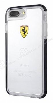 Ferrari iPhone 7 Plus / 8 Plus Ultra Koruma Silikon Kenarlı Şeffaf Siyah Kılıf