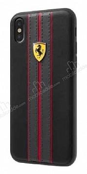 Ferrari iPhone X / XS Gerçek Deri Çizgili Siyah Rubber Kılıf