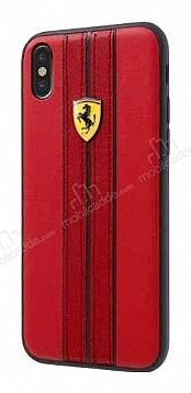 Ferrari iPhone X Gerçek Deri Çizgili Kırmızı Rubber Kılıf