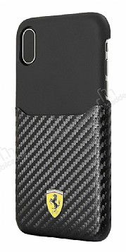 Ferrari iPhone X / XS Gerçek Deri Karbon Siyah Rubber Kılıf