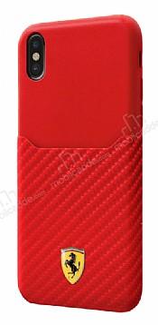 Ferrari iPhone X Gerçek Deri Karbon Kırmızı Rubber Kılıf
