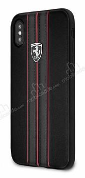 Ferrari iPhone X / XS Gerçek Deri Siyah Rubber Kılıf