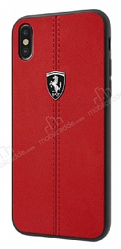 Ferrari iPhone X / XS Gerçek Deri Kırmızı Rubber Kılıf