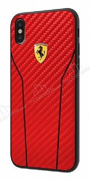 Ferrari iPhone X Karbon Kırmızı Rubber Kılıf