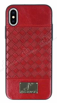 G-Case Gentleman Series iPhone X Deri Kırmızı Rubber Kılıf