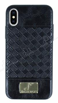 G-Case Gentleman Series iPhone X Deri Siyah Rubber Kılıf