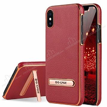 G-Case iPhone X Standlı Deri Kırmızı Rubber Kılıf